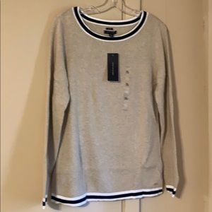 Tommy Hilfiger XL Taupe, Navy, White Sweater NWT
